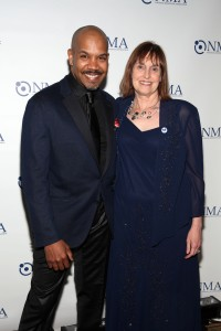NMA president Lynn Bozof with Darius De Haas who performed at the gala.  (Photo by R.Cole for Rob Rich/SocietyAllure.com © 2015)